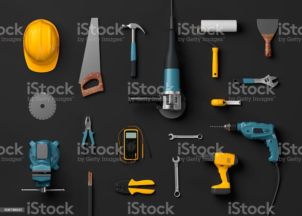 helmet, drill and construction tools stock photo