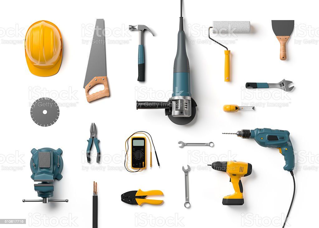 helmet, drill, angle grinder and other construction tools stock photo