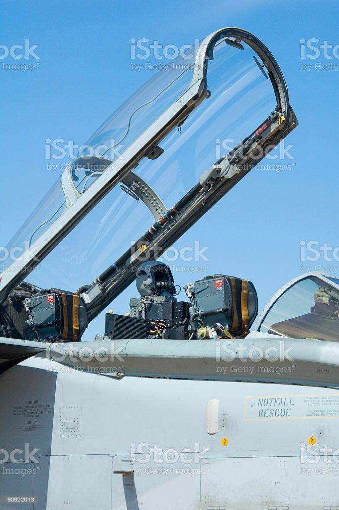 Helmet, ejector seat, canopy stock photo