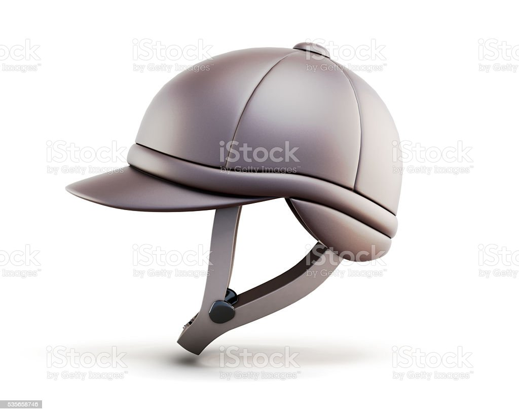 Helmet for horseriding isolated on white background. Side view. stock photo