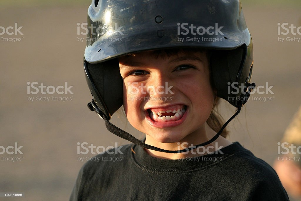 Helmet Girl Smile stock photo