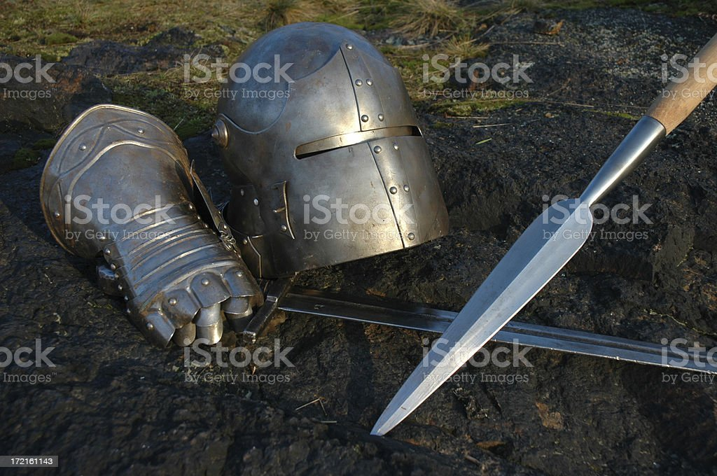 helmet, glove and spear royalty-free stock photo