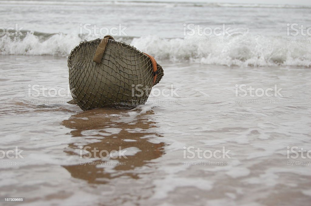 Helmet on Beach. stock photo