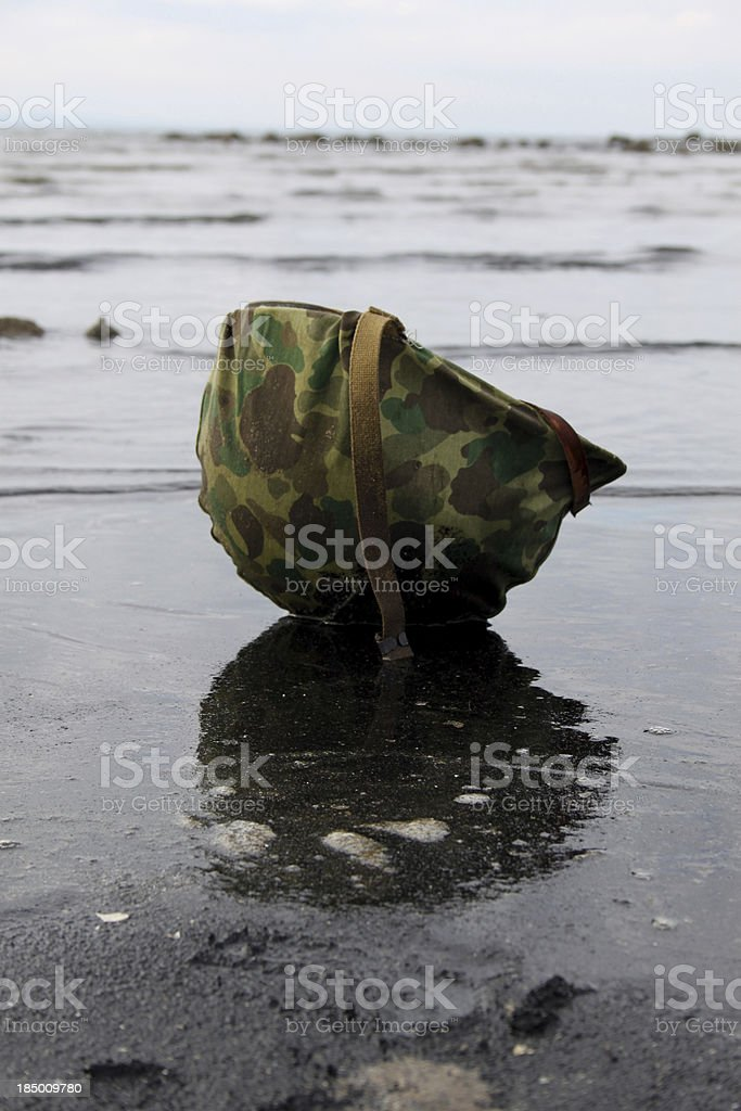 Helmet on Iwo Jima stock photo