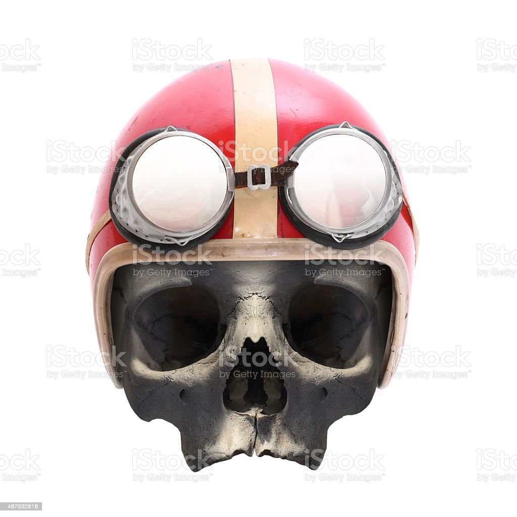 Helmet on the skull. stock photo