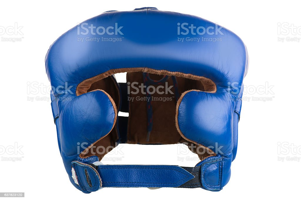 helmet to protect the head in boxing isolated stock photo