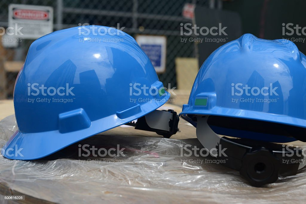 Helmets at a Construction Site stock photo