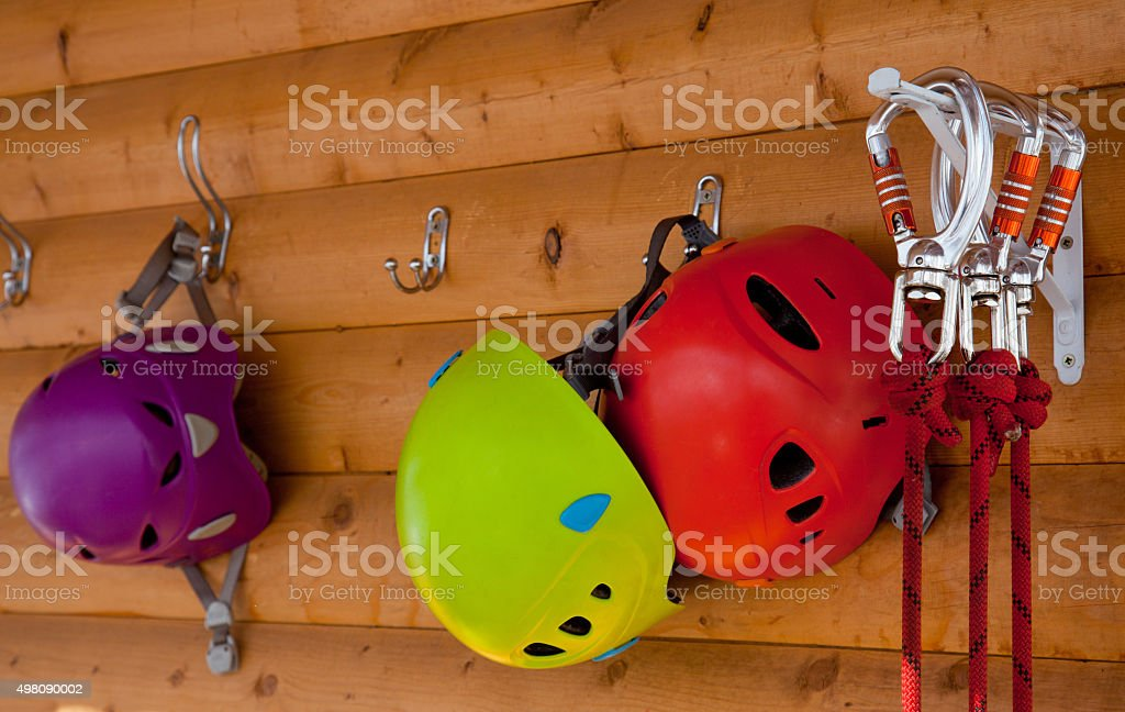 helmets, safety carabiner stock photo