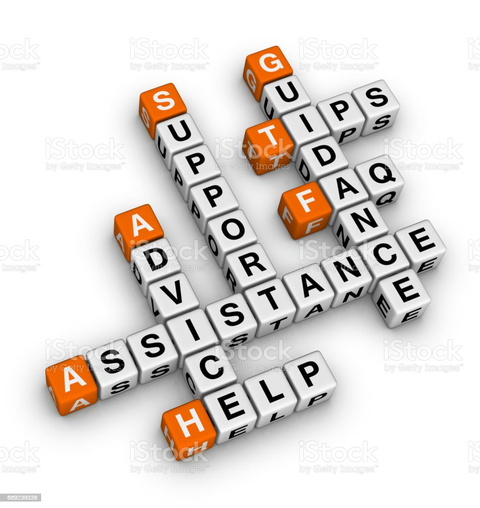 Help and Support Crossword Puzzle. stock photo