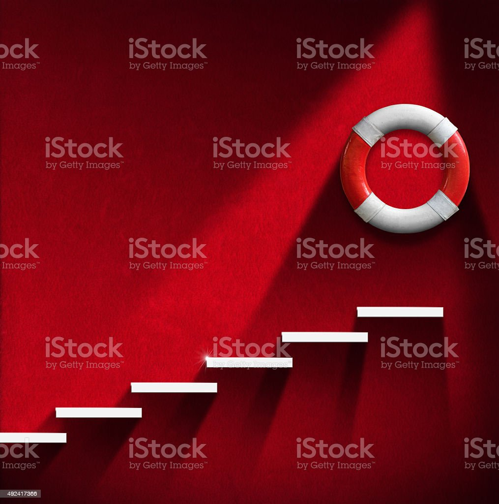 Help Concept - Staircase and Lifebuoy stock photo