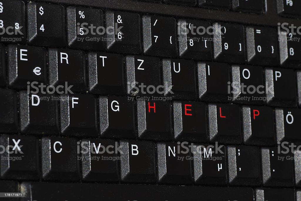 help diagonally on keyboard royalty-free stock photo