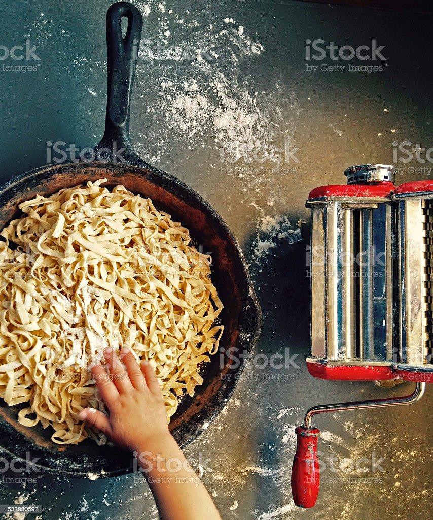 Help for Handmade Pasta stock photo