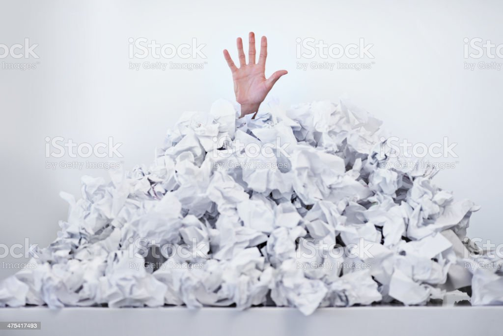 Help! I'm drowning in paperwork stock photo