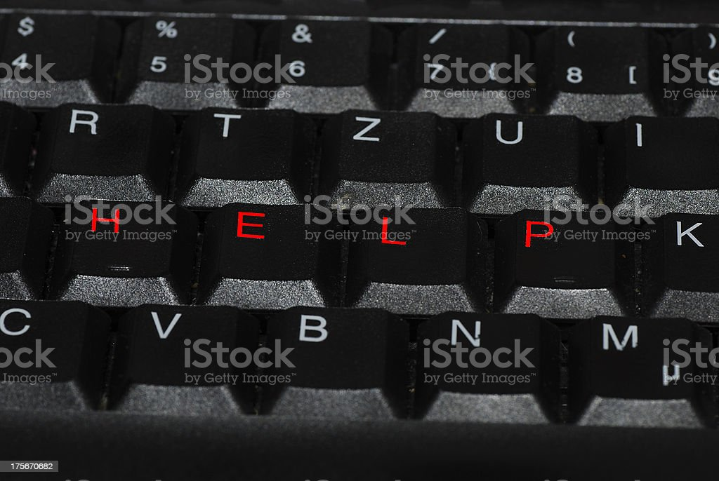 help in red on keyboard royalty-free stock photo