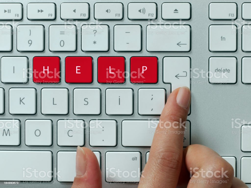 Help! keyboard message concept stock photo
