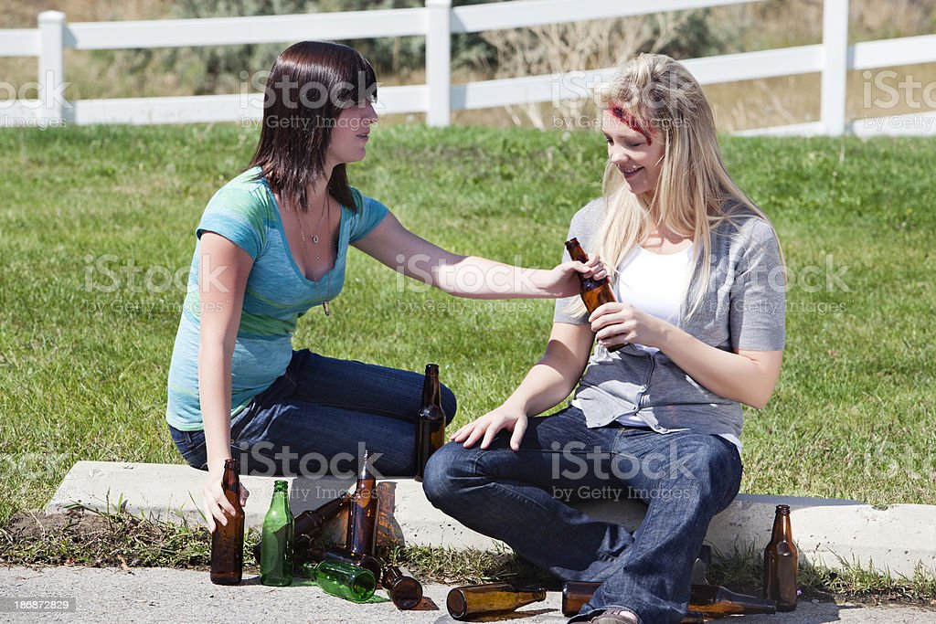help me my friend is hurt and drunk royalty-free stock photo