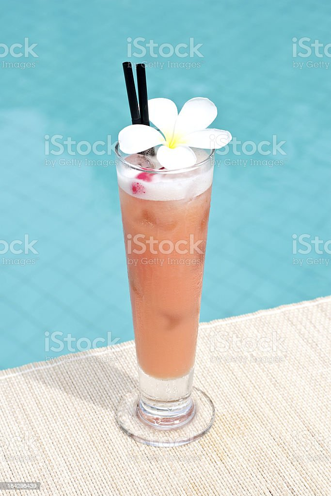 Help Special Flip cocktail near waterpool on the mat stock photo