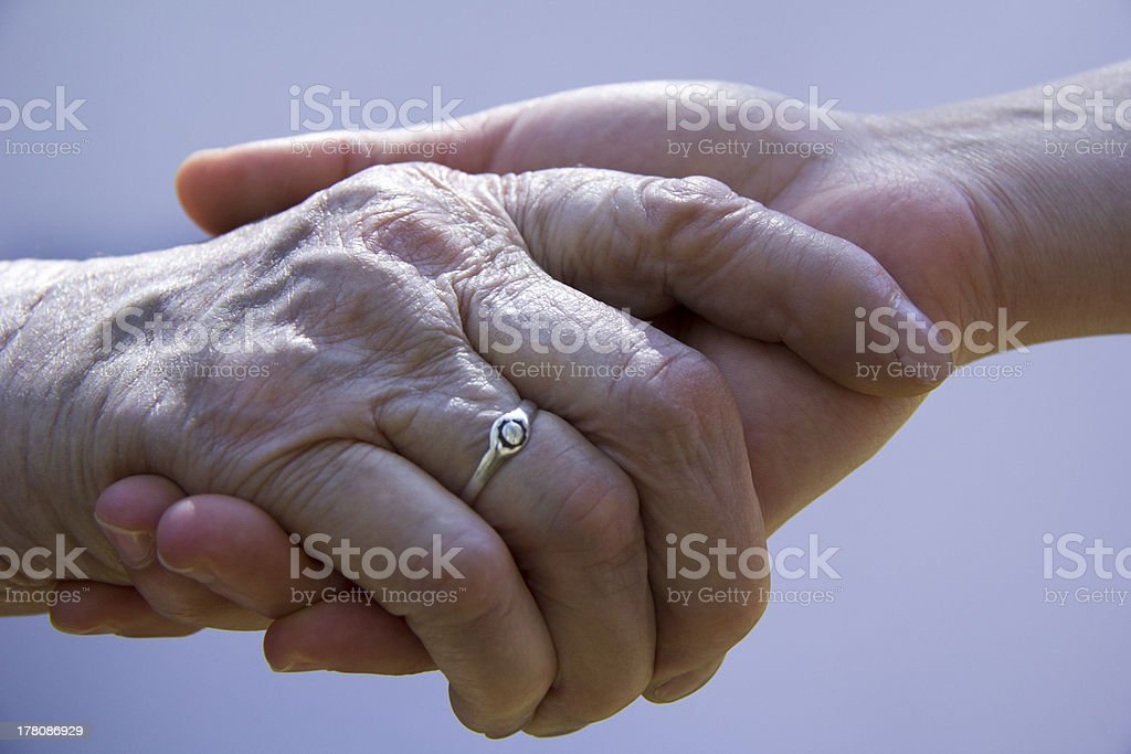 help the elderly mother royalty-free stock photo