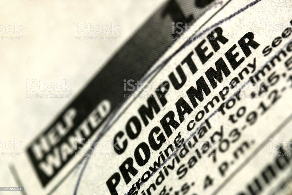 Help Wanted - Computer Programmer royalty-free stock photo