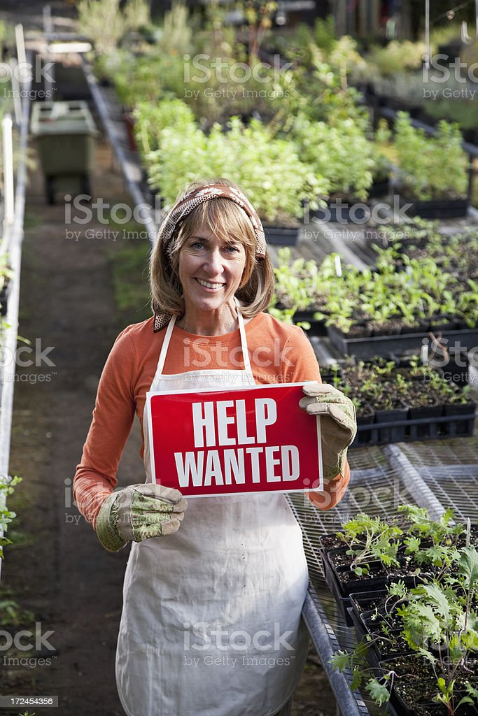 Help Wanted in garden center royalty-free stock photo
