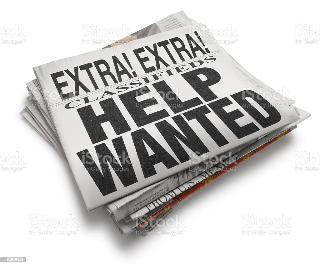 Help Wanted Newspaper Headline On White Background stock photo