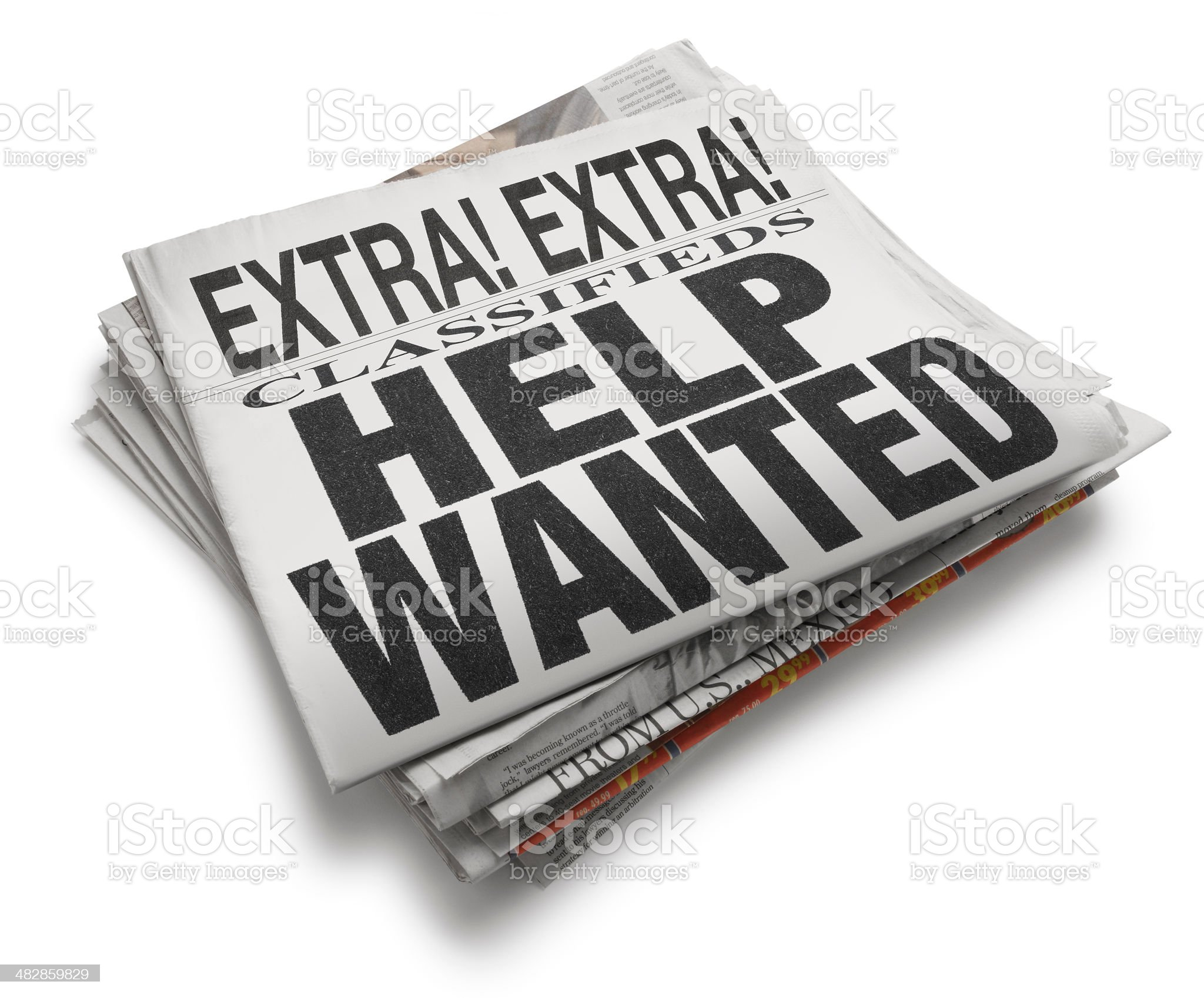 Help Wanted Newspaper Headline On White Background royalty-free stock photo