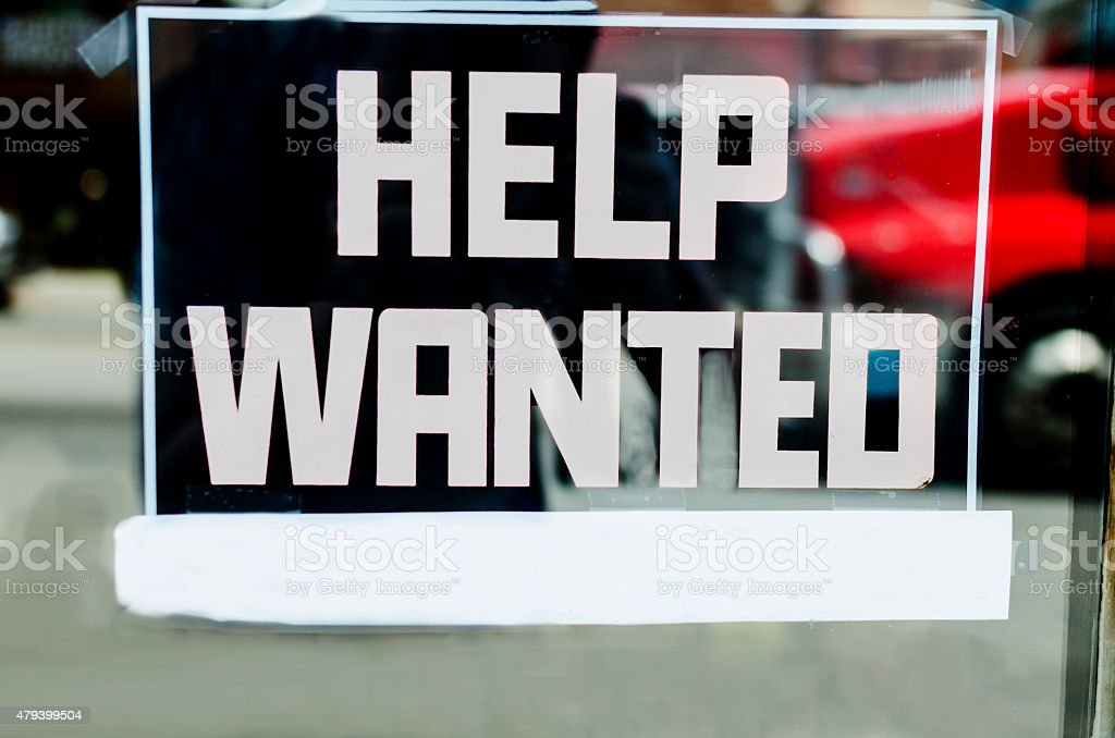 Help Wanted Sign With Space For Own Text stock photo