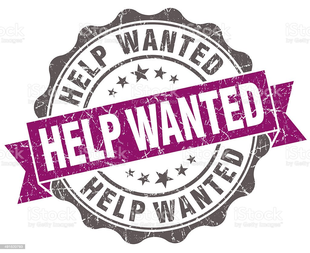 Help wanted violet grunge retro vintage isolated seal stock photo