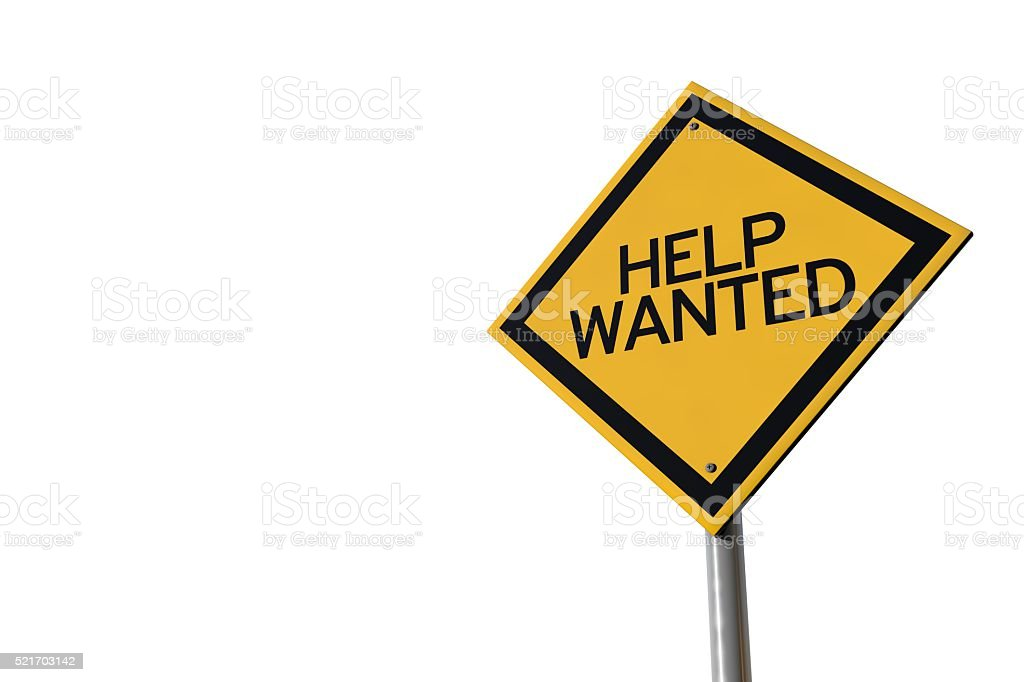 Help wanted yellow highway road sign stock photo