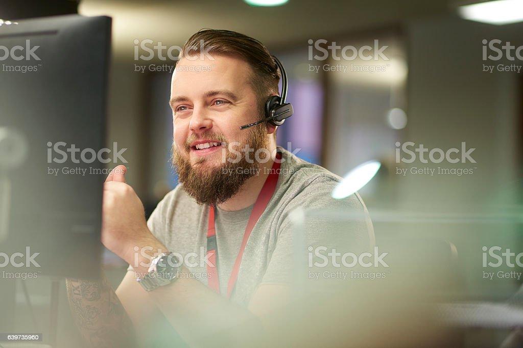 helpful customer service representative stock photo