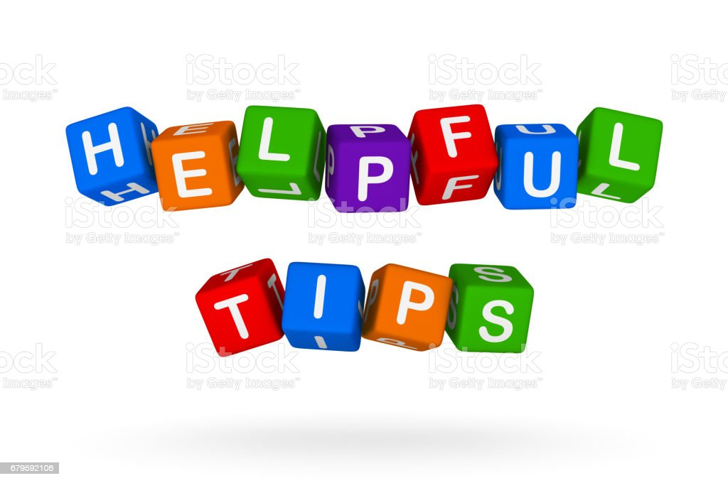 Helpful Tips Colorful Sign stock photo