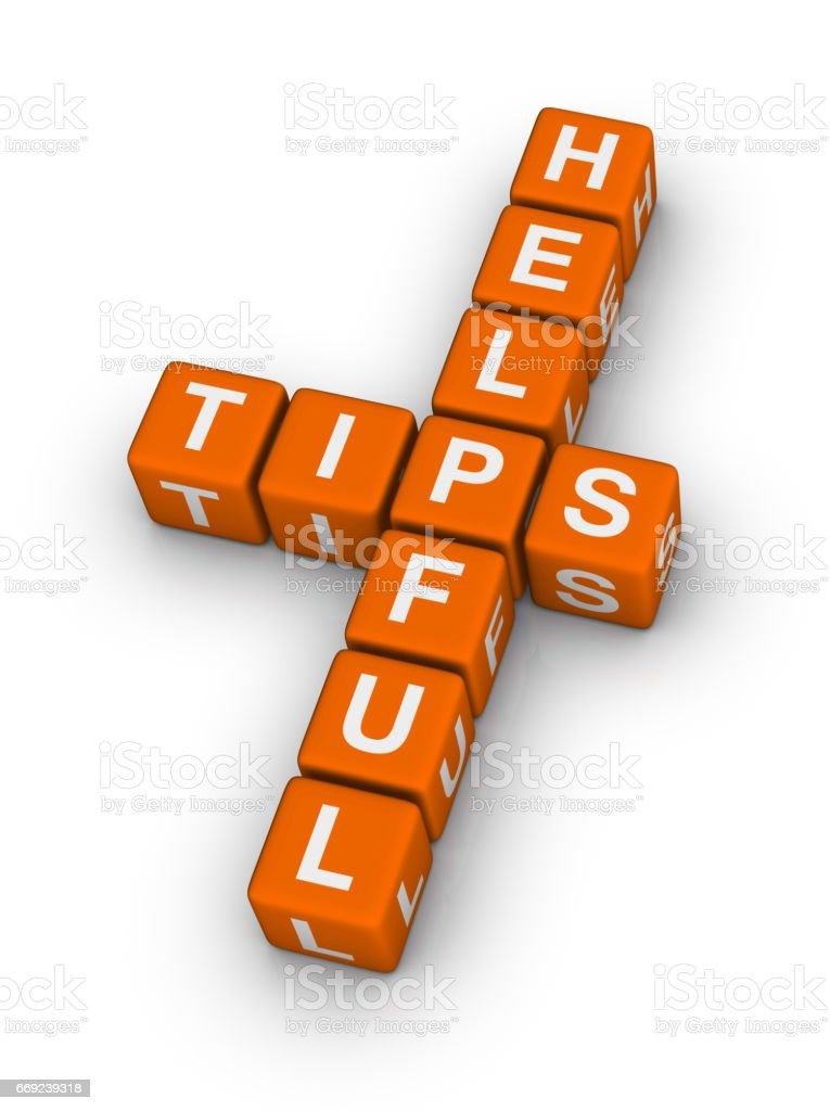 Helpful Tips Crossword Puzzle. stock photo