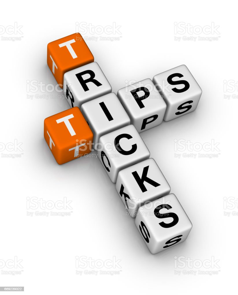 Helpful Tricks and Tips Crossword Puzzle. stock photo