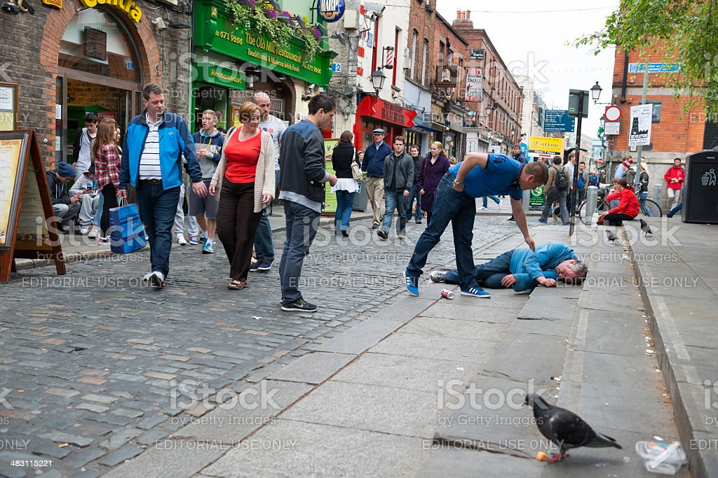 Helping a stranger in need stock photo