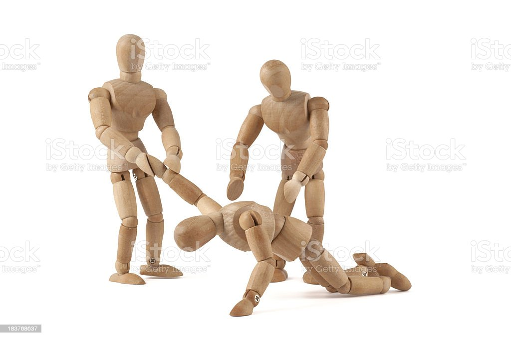 helping hand for depressive or exhausted wooden mannequin royalty-free stock photo