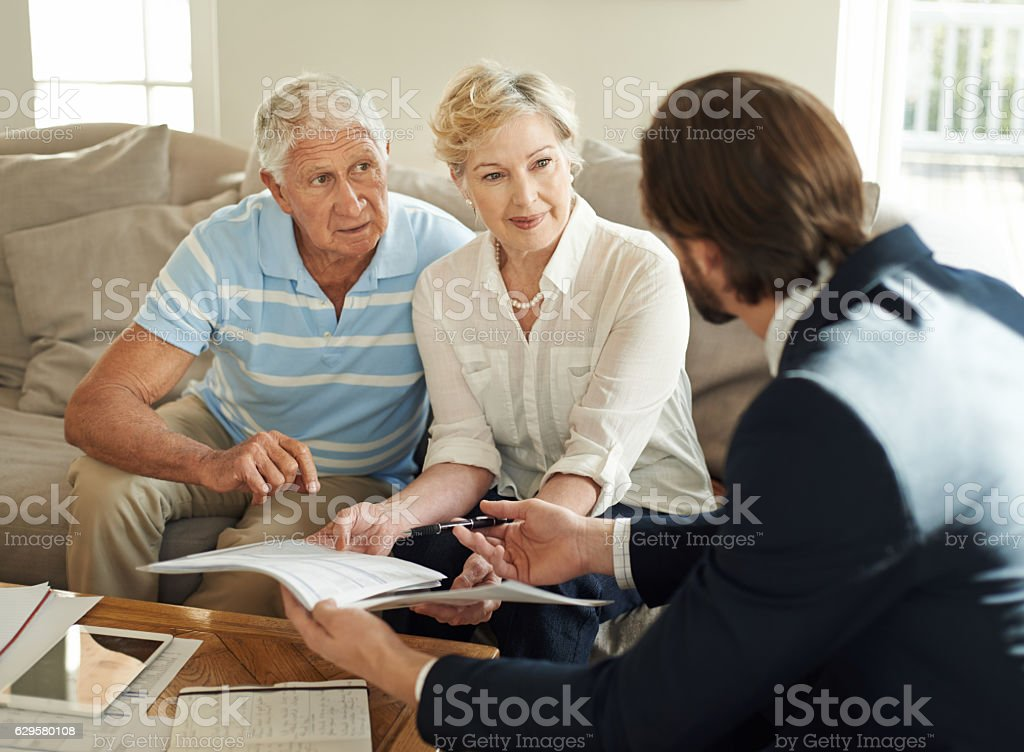 Helping his clients thrive in retirement stock photo
