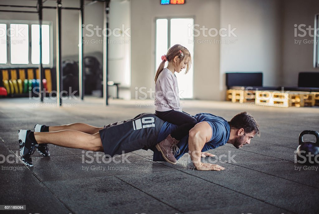 Helping me getting stronger stock photo