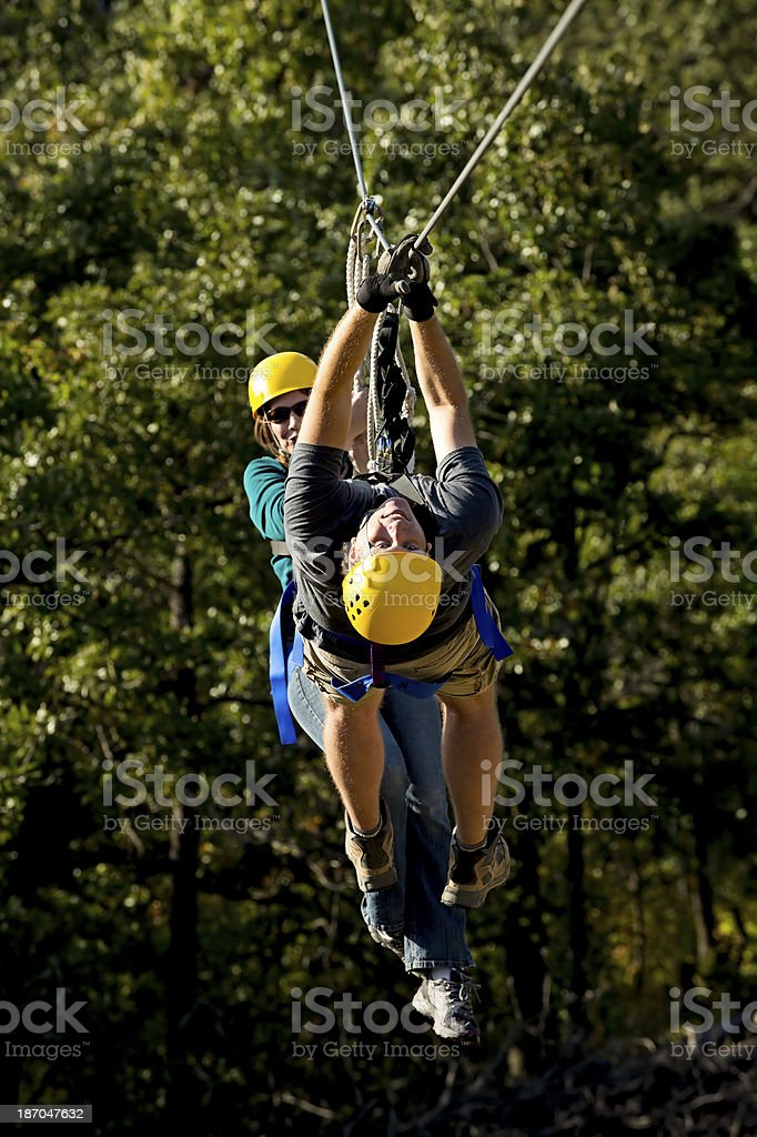 Helping on the Zipline royalty-free stock photo