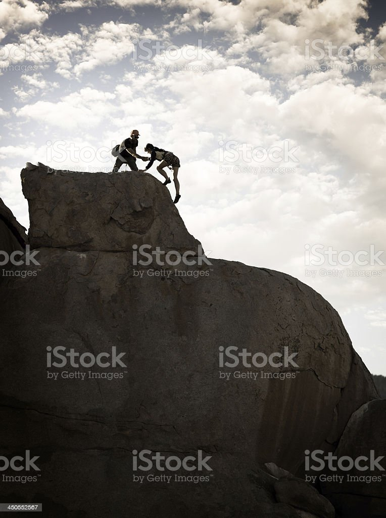 Helping On Top stock photo
