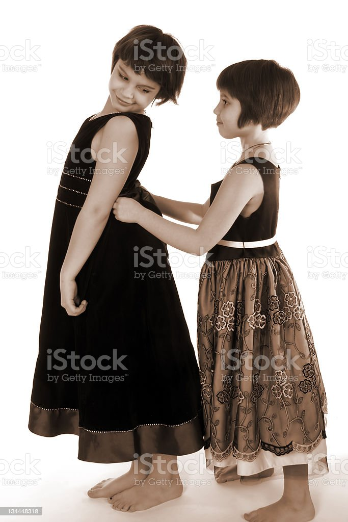 Helping Sisters royalty-free stock photo