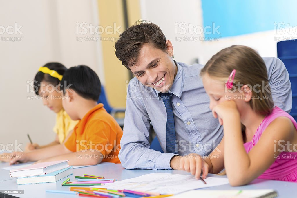 Helping student stock photo