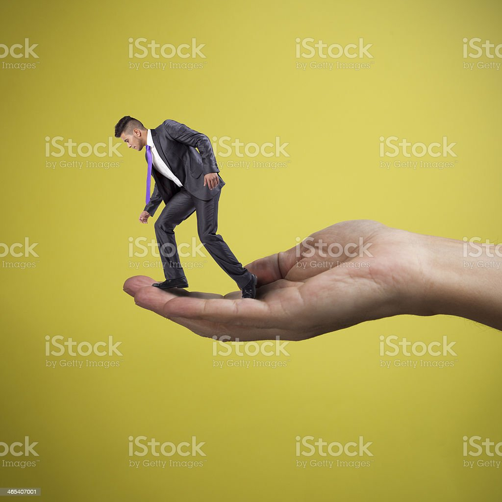 Helping the businessman stock photo