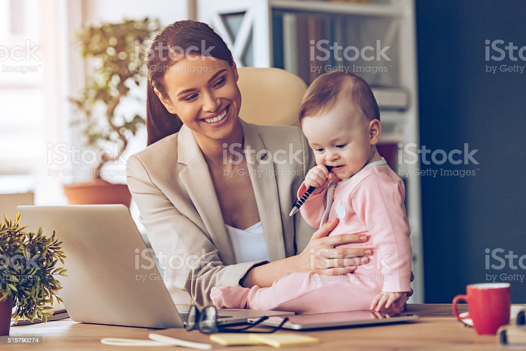 Helping to mommy. stock photo