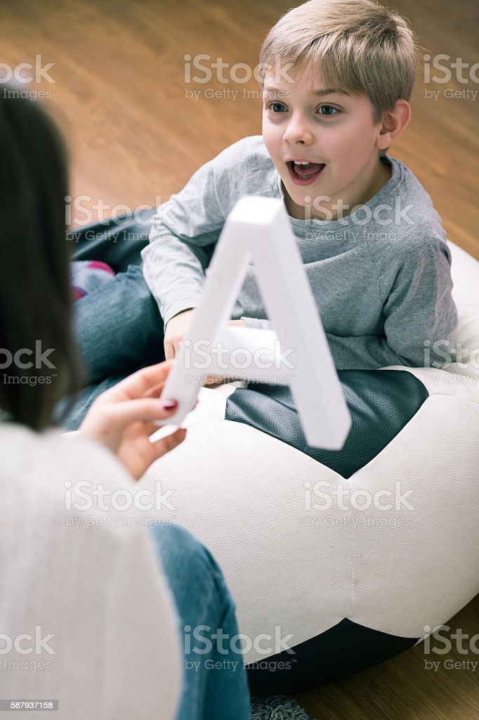 Helping with study stock photo