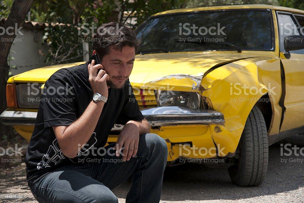 helpless man beside his car stock photo