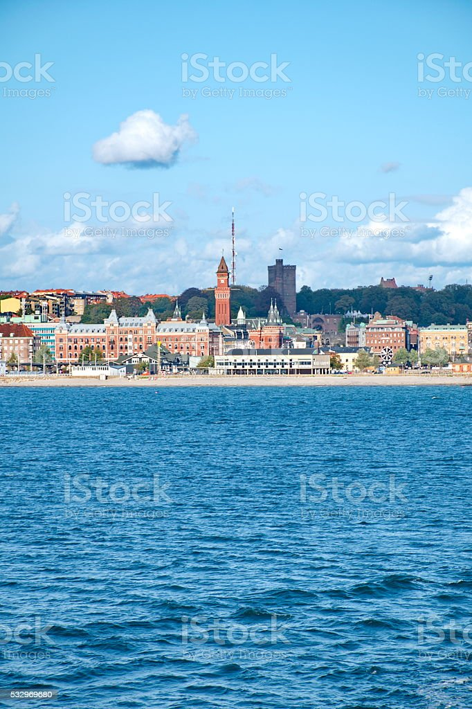 Helsingborg from the water stock photo