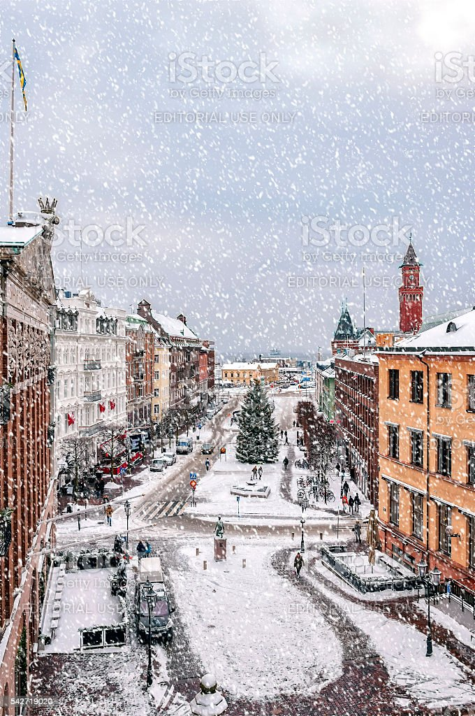 Helsingborg Snowy Weather stock photo