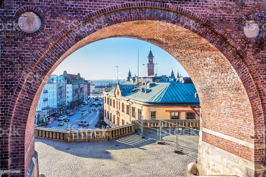 Helsingborg Through the Archway stock photo