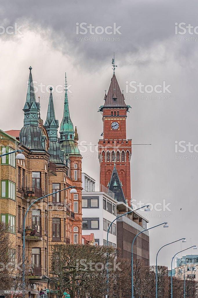 Helsingborg Town Hall Clock Tower stock photo