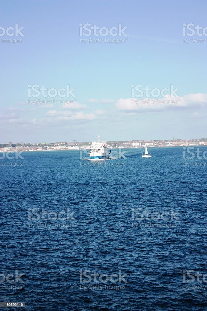Helsingborg under blue sky in Sweden, photographed from the ferry stock photo
